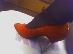 Red glitter peep toes with steel heels